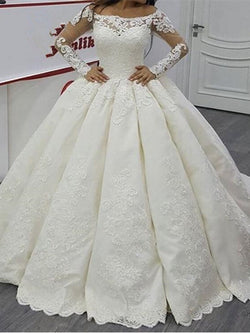 Sweep/Brush Appliques Long Sleeves Ball Gown Garden/Outdoor Wedding Dress