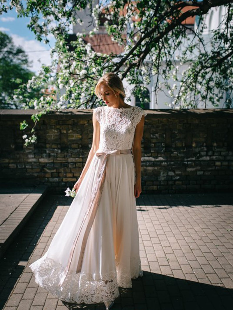 A-Line Sleeveless Button Floor-Length Garden/Outdoor Wedding Dress
