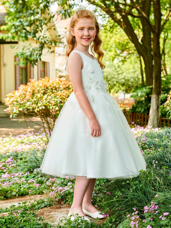 Appliques Fall Sleeveless Tea-Length Flower Girl Dress