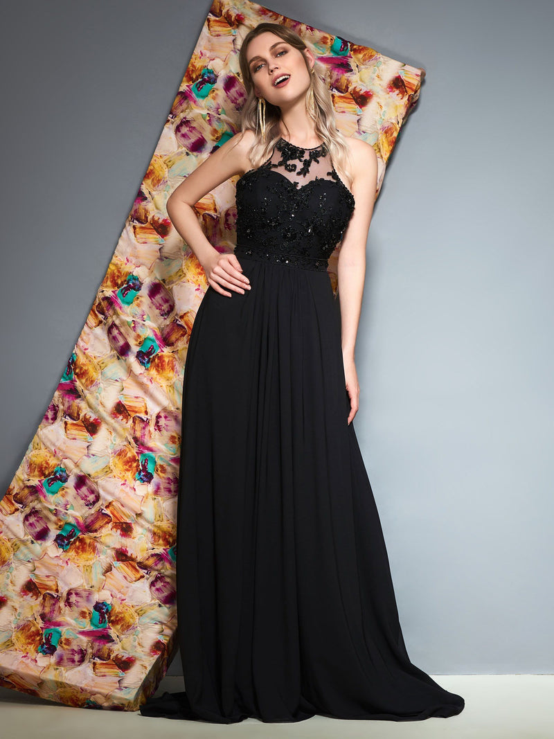 A-Line Appliques Scoop Floor-Length Prom Dress
