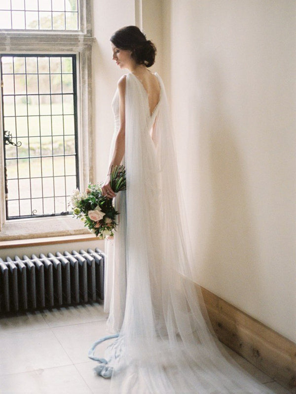 A-Line Sleeveless Floor-Length V-Neck Hall Wedding Dress