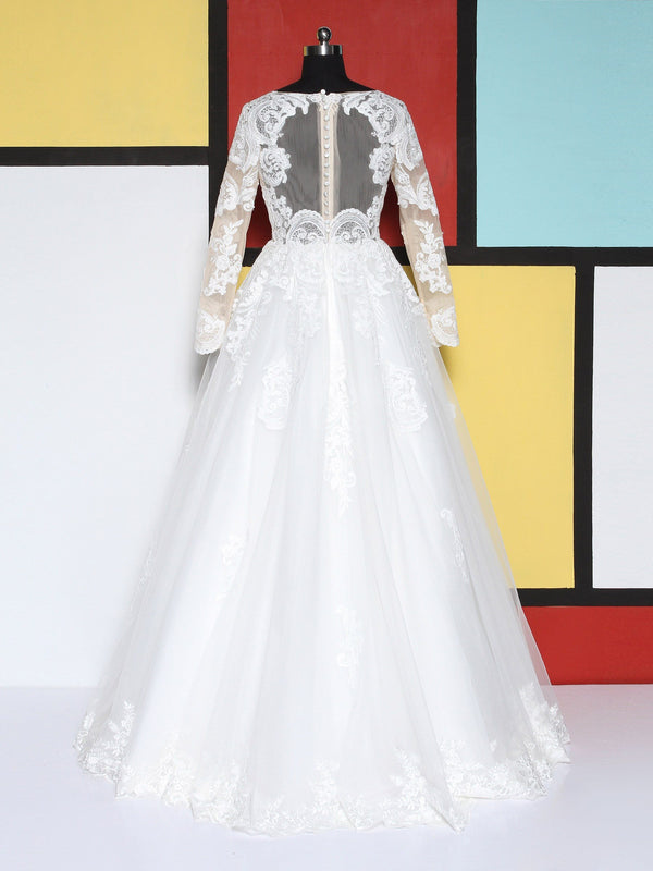 Ball Gown Long Sleeves Floor-Length Lace Church Wedding Dress