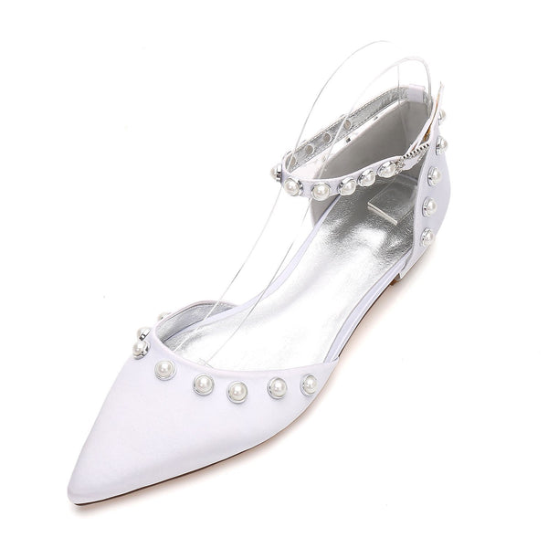 Block Heel Line-Style Buckle Beads Pointed Toe Wedding 2cm Thin Shoes