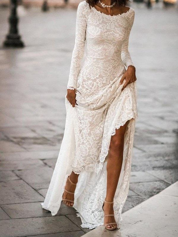 Sheath/Column Lace Long Sleeves Floor-Length Garden/Outdoor Wedding Dress