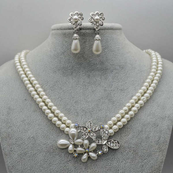 Necklace Floral Diamante Jewelry Sets (Wedding)