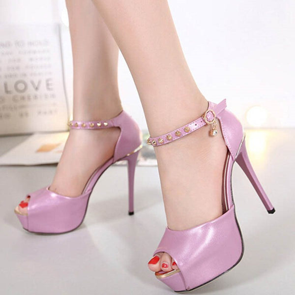 Peep Toe Stiletto Heel Line-Style Buckle Platform Plain Low-Cut Upper Thin Shoes