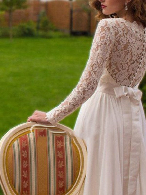 A-Line Beading Long Sleeves Court Garden/Outdoor Wedding Dress