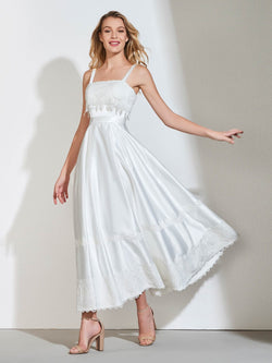Straps Sleeveless Ankle-Length Lace Wedding Party Dress