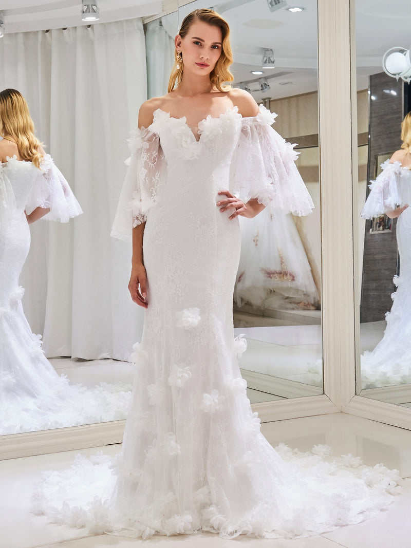 Court Short Sleeves Floor-Length Off-The-Shoulder Garden/Outdoor Wedding Dress