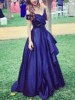 A-Line Cascading Ruffles Floor-Length Sleeveless Prom Dress