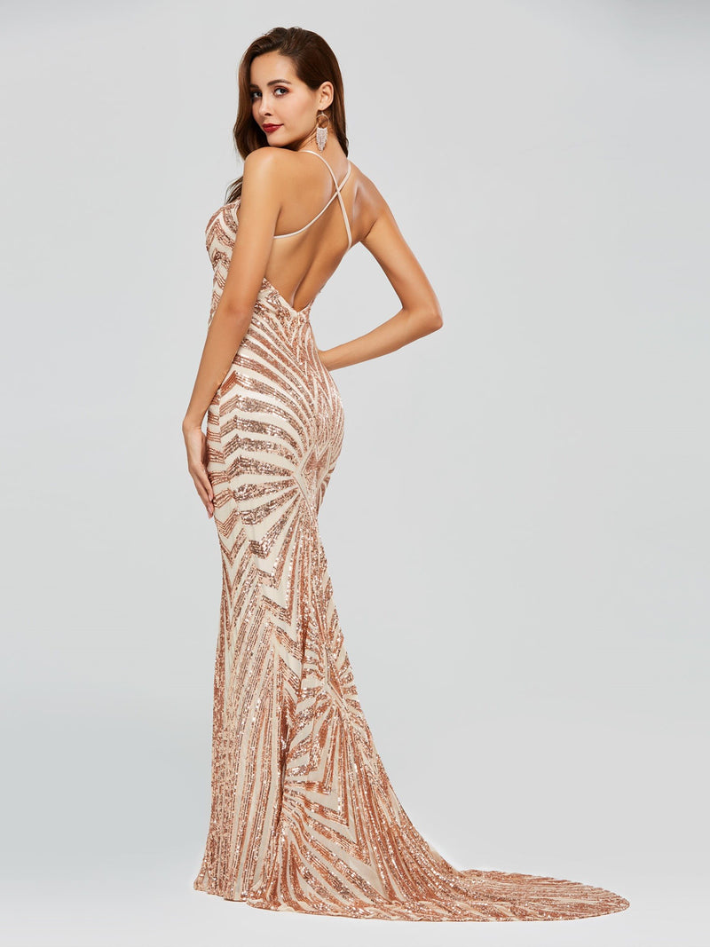 Sequins Sweep/Brush Floor-Length Sleeveless Evening Dress