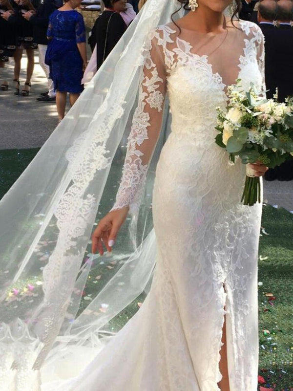Floor-Length Court Trumpet/Mermaid Split-Front Hall Wedding Dress