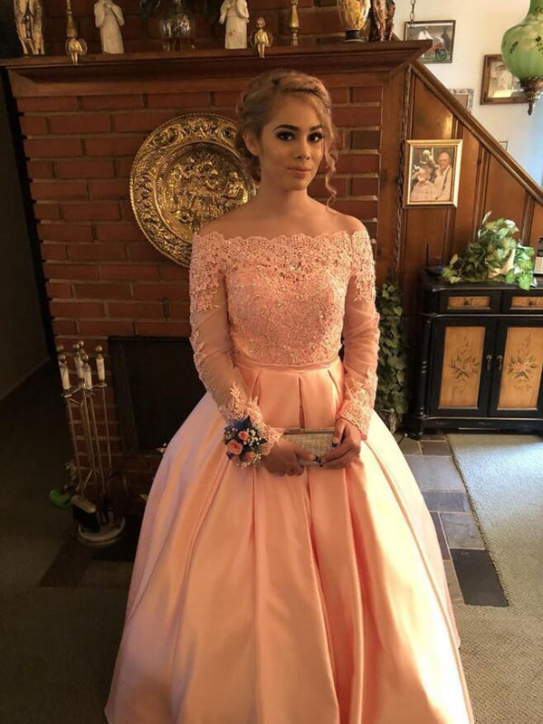 Ball Gown Long Sleeves Sweep/Brush Off-The-Shoulder Formal Dress