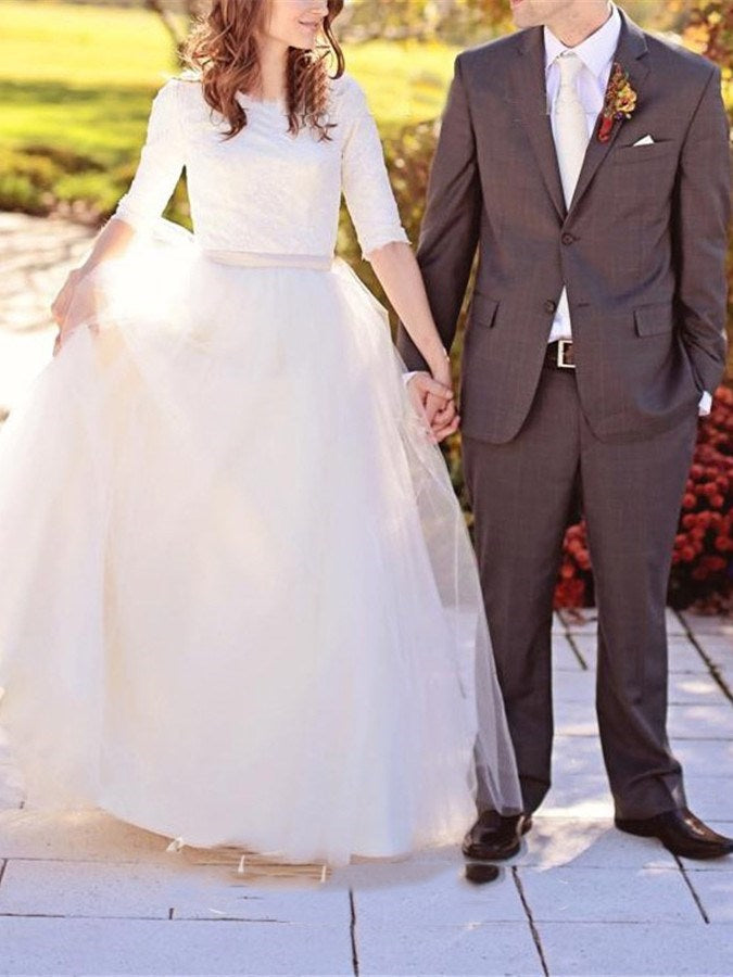 Half Sleeves Floor-Length Scoop Sweep/Brush Church Wedding Dress