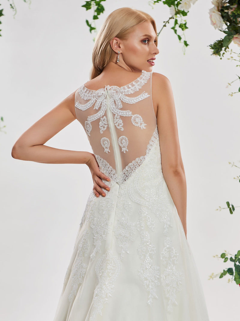 Sleeveless Scoop A-Line Court Garden/Outdoor Wedding Dress