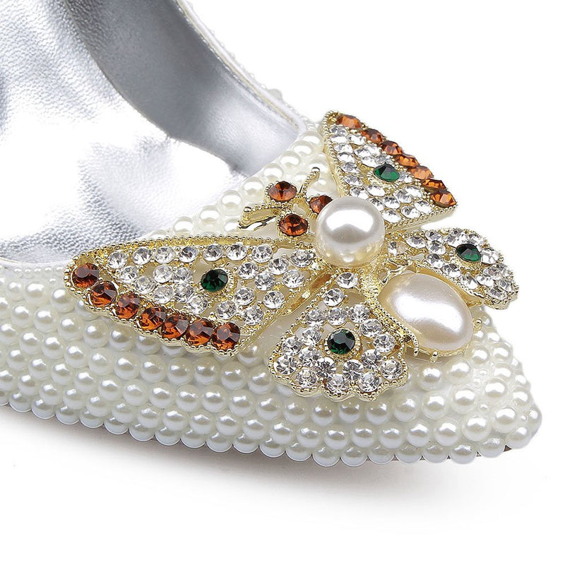 Beads Slip-On Stiletto Heel Pointed Toe Animal 10cm Thin Shoes