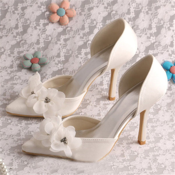 Thread Slip-On Pointed Toe Stiletto Heel Plain Wedding Thin Shoes