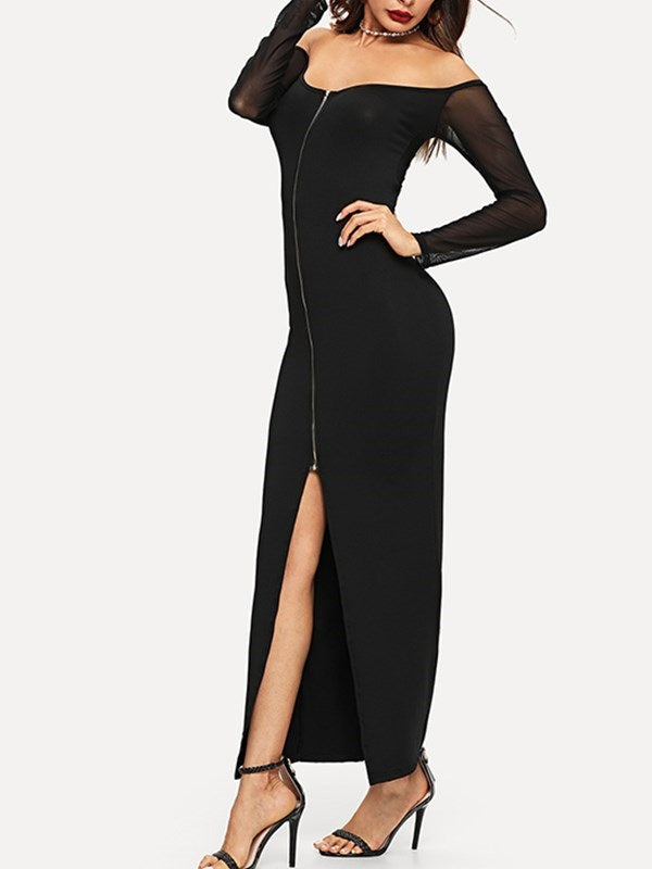 V-Neck Patchwork Long Sleeve Bodycon Plain Dress