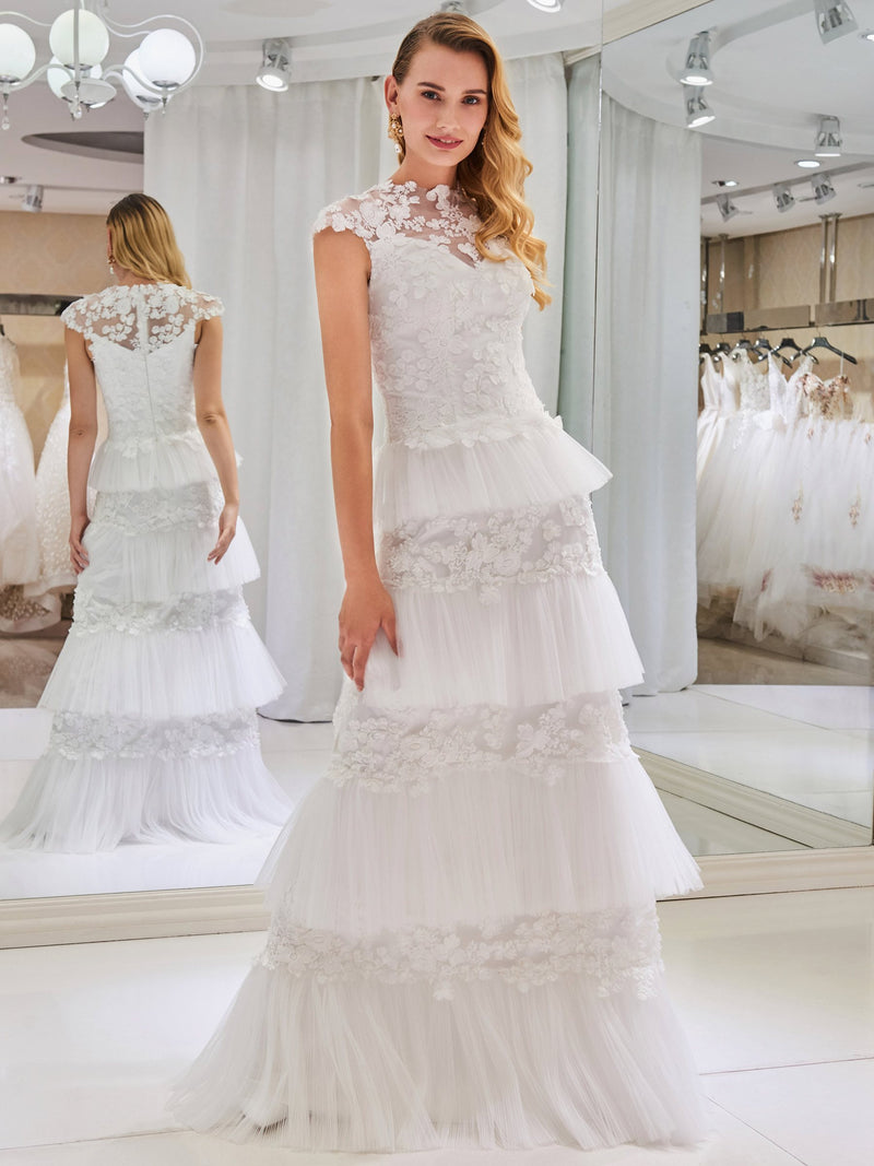 Sweep/Brush Floor-Length Sheath/Column Lace Hall Wedding Dress