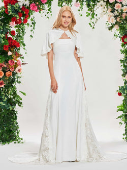 Floor-Length Lace Trumpet/Mermaid Cathedral Garden/Outdoor Wedding Dress