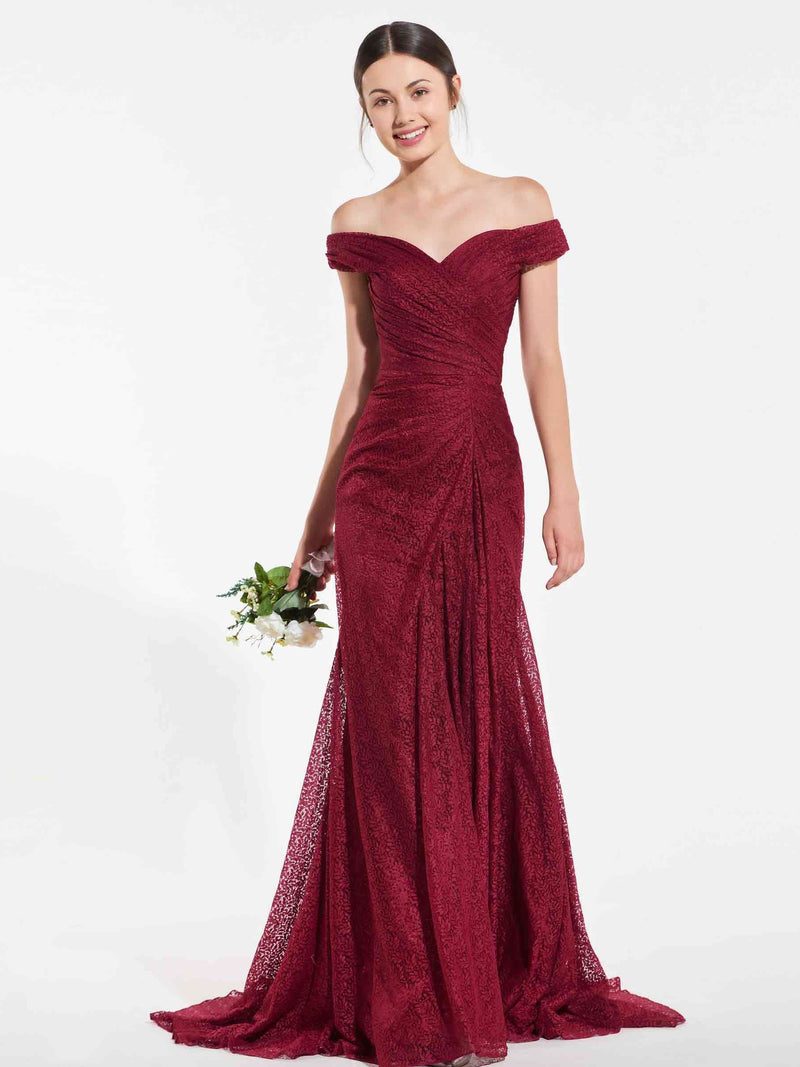 Draped Floor-Length Trumpet/Mermaid Off-The-Shoulder Graduation Dress
