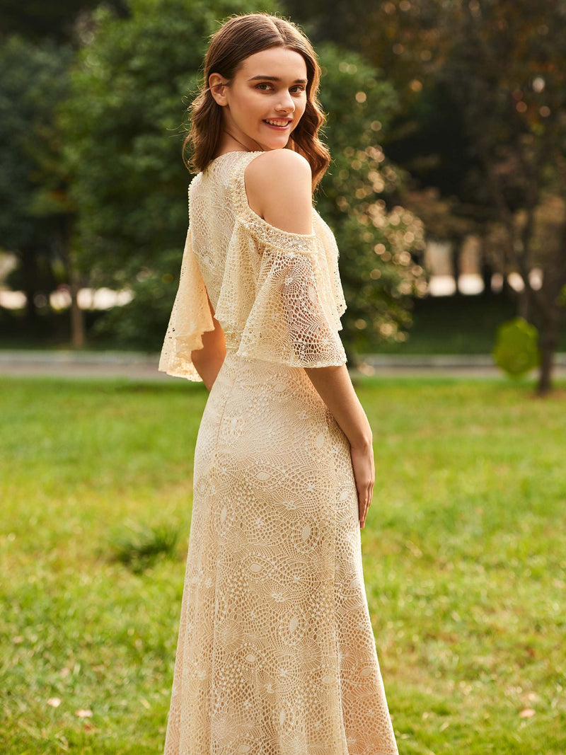 Floor-Length Half Sleeves A-Line Lace Wedding Party Dress
