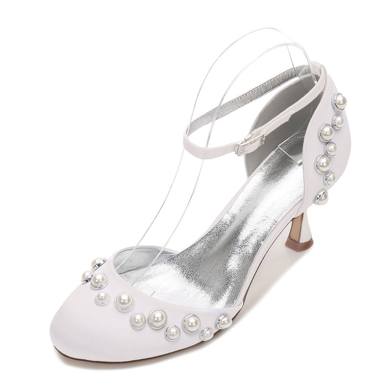 Stiletto Heel Beads Round Toe Line-Style Buckle Wedding Plain Thin Shoes