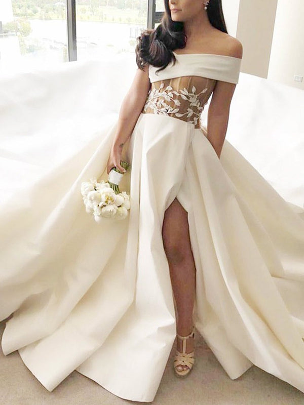 Court Off-The-Shoulder Sleeveless Floor-Length Hall Wedding Dress