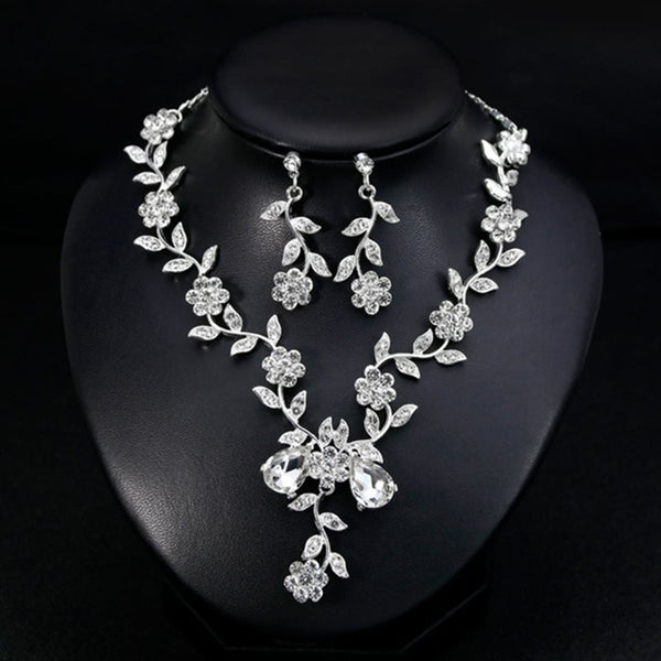 Gemmed Necklace Floral Jewelry Sets (Wedding)