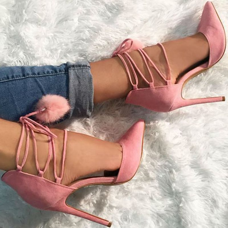 Pointed Toe Pompon Stiletto Heel Lace-Up Plain Banquet Thin Shoes