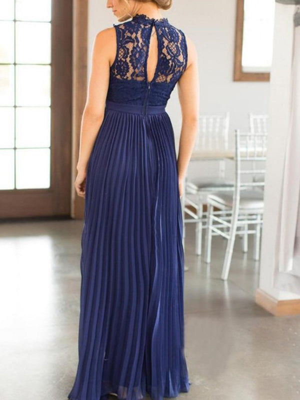 Sleeveless A-Line Lace High Neck Wedding Party Dress