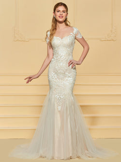 Trumpet/Mermaid Short Sleeves Floor-Length Lace Church Wedding Dress