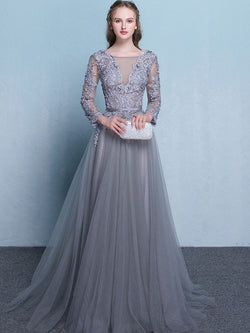 Scoop Embroidery Long Sleeves A-Line Wedding Party Dress