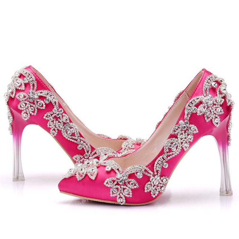 Stiletto Heel Pointed Toe Rhinestone Slip-On Wedding Low-Cut Upper Thin Shoes