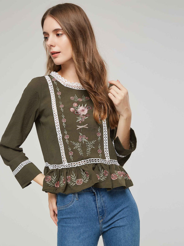 Hollow Floral Round Neck Standard Long Sleeve Blouse