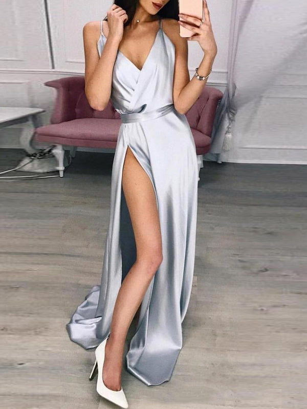 V-Neck Split Floor-Length Expansion Plain Dress