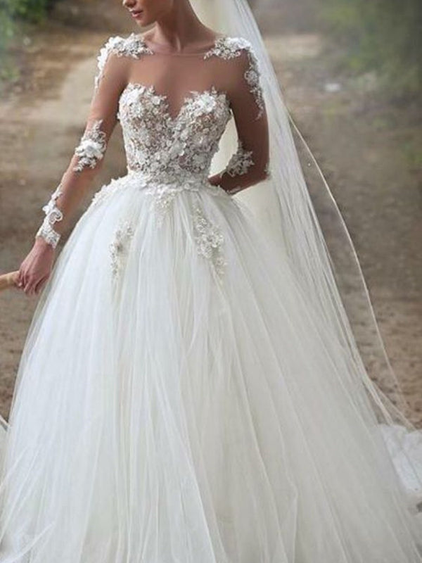 Ball Gown Floor-Length Sweep/Brush Long Sleeves Garden/Outdoor Wedding Dress