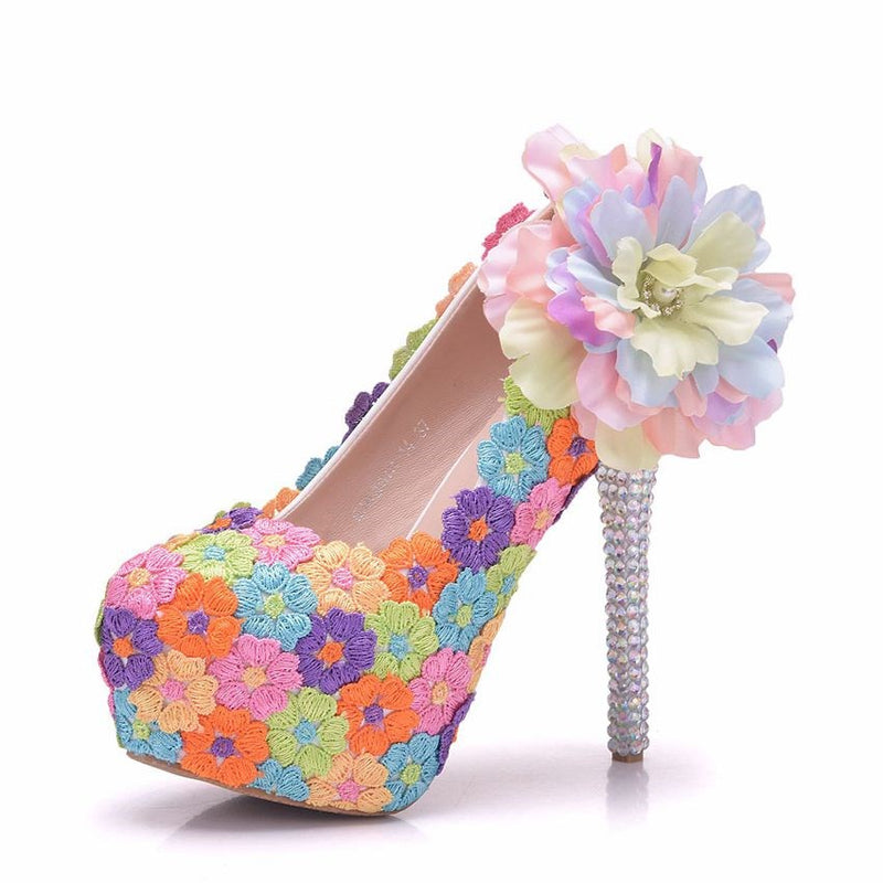 Beads Round Toe Slip-On Stiletto Heel Floral Low-Cut Upper Thin Shoes