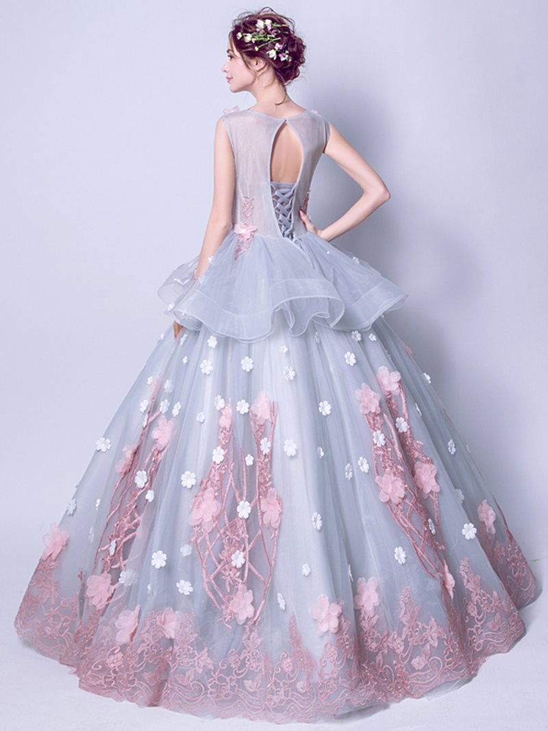 Ball Gown Sleeveless Scoop Flowers Quinceanera Dress