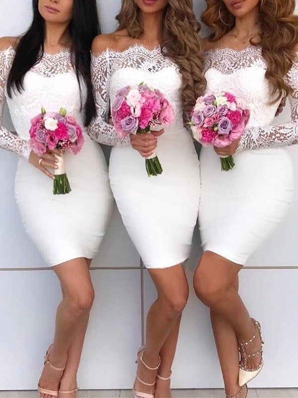 Lace Long Sleeves Short/Mini Off-The-Shoulder Wedding Party Dress