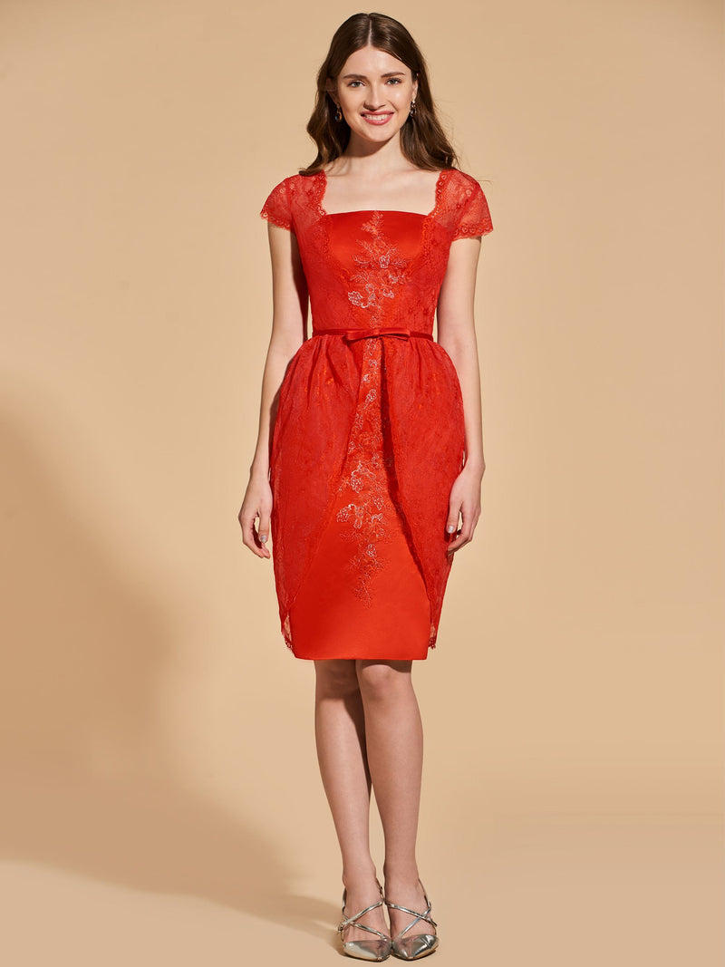 Knee-Length Lace Sheath/Column Cap Sleeves Cocktail Dress
