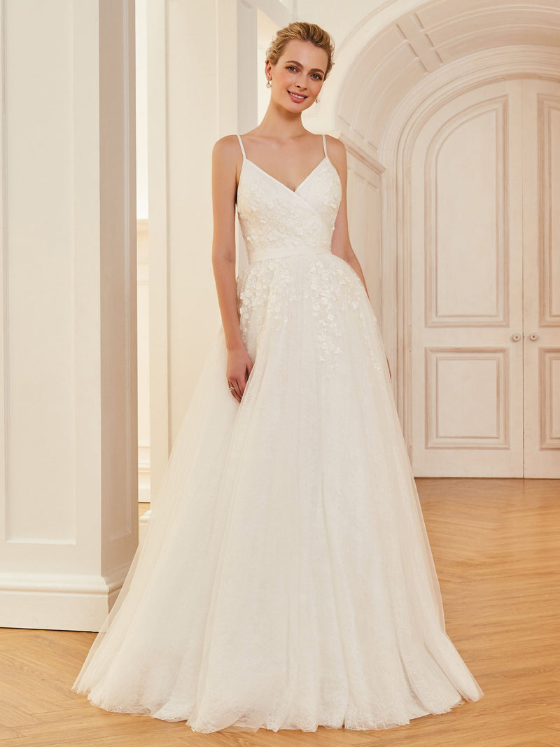 Floor-Length Appliques Sleeveless Spaghetti Straps Church Wedding Dress