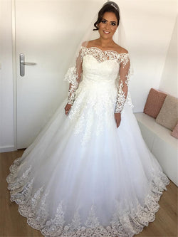 Court Floor-Length Appliques Off-The-Shoulder Hall Wedding Dress