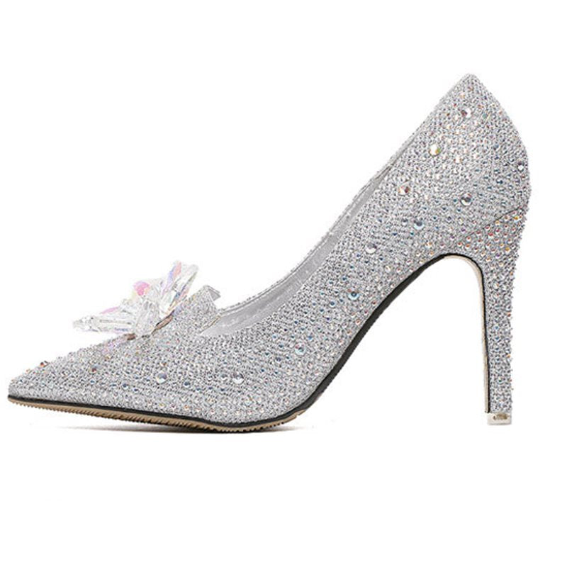 Pointed Toe Slip-On Sequin Chunky Heel 11cm Low-Cut Upper Thin Shoes
