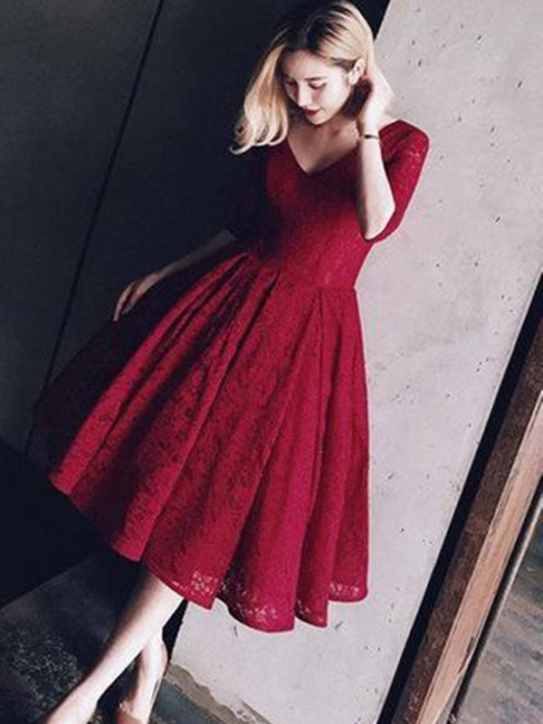 Knee-Length A-Line Half Sleeves Lace Cocktail Dress