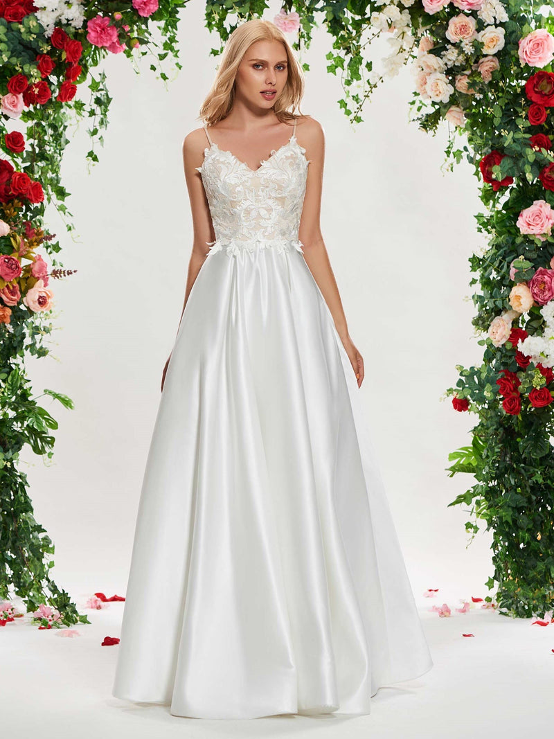 Appliques A-Line Sleeveless Spaghetti Straps Church Wedding Dress