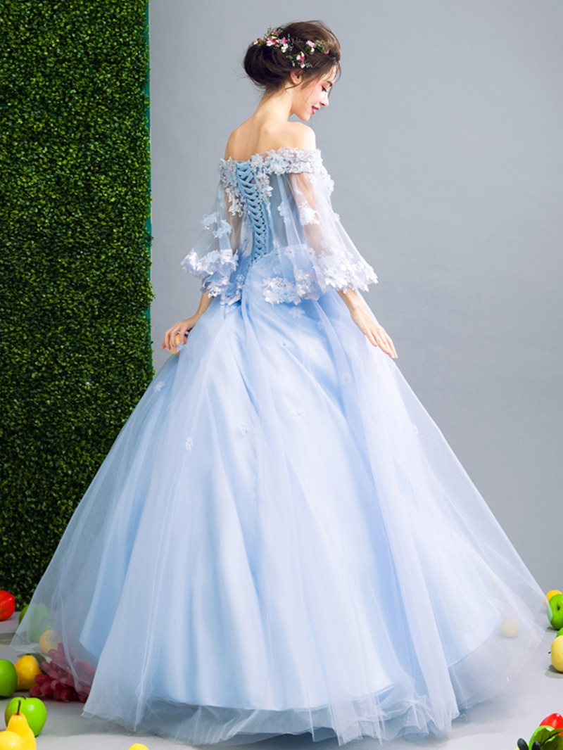 Floor-Length 3/4 Length Sleeves Sashes/Ribbons Ball Gown Quinceanera Dress