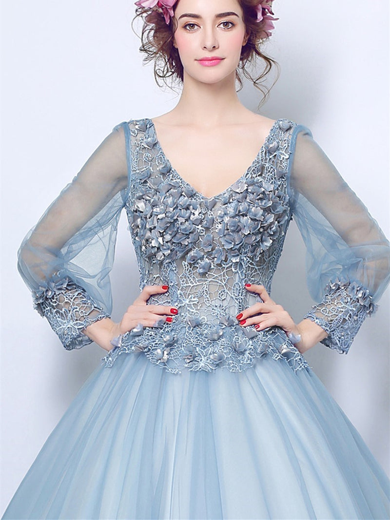 Floor-Length Flowers Long Sleeves Ball Gown Quinceanera Dress