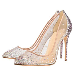 Pointed Toe Stiletto Heel Slip-On Rhinestone Low-Cut Upper Casual Thin Shoes