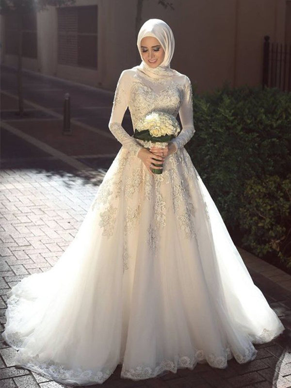 A-Line Sweep/Brush Long Sleeves Floor-Length Church Wedding Dress